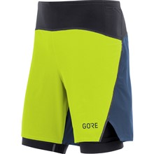 GORE R7 2in1 Shorts-citrus green/deep water blue-L